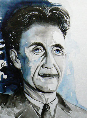 001 - George Orwell - Watercolour - 30 x 40 cm