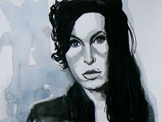 007 Amy Winehouse - watercolour - 30 x 40 cm