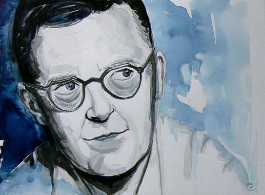 002 Dmitri Shostakovich - watercolour - 30 x 40 cm