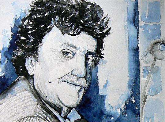 002 - Kurt Vonnegut - Watercolour - 30 x 40 cm