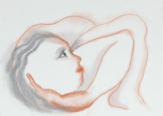 La contorsionniste, 2018, craie sur papier, 59.5 x 42 cm
