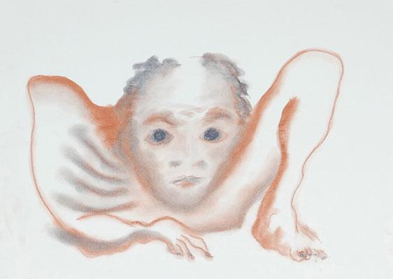 La faim. 2018, craie sur papier, 59.5 x 42 cm