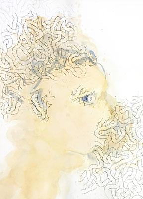 Le bavard, 2019, encre de Chine et aquarelle sur papier, 49 x 64 cm