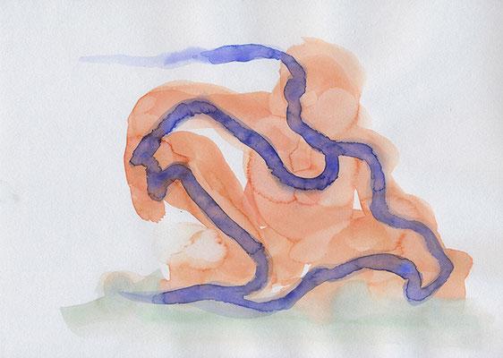 Homme assis, 2020, aquarelle sur papier, 29.5 x 21 cm