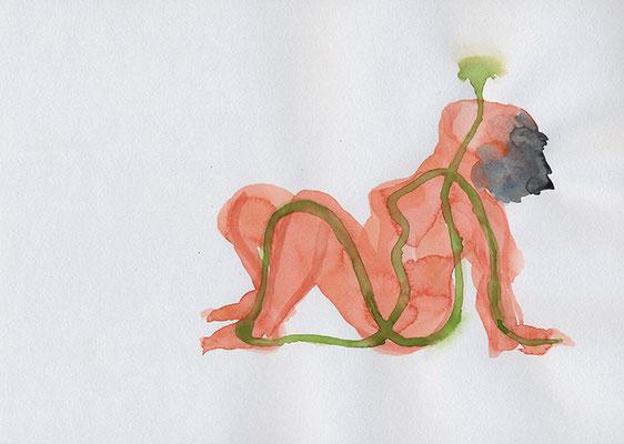 Femme assise, 2020, aquarelle sur papier, 29.5 x 21 cm