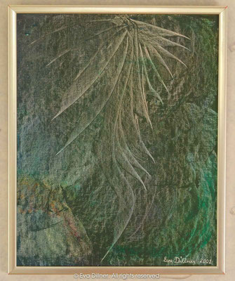 """A133 35x43cm ©2002 Eva Dillner. Private Collection Sweden. """"Jag älskar harmonin och lugnet i tavlan, samtidigt som den uttrycker kraft. En tavla som verkligen sätter betraktarens fantasi i fokus, och som kan tolkas ur oändliga perspektiv."""""""