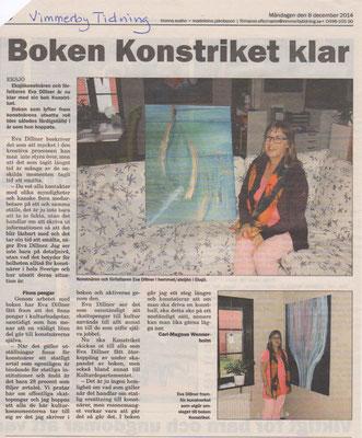 Boken Konstriket klar Vimmerby Tidning 12/8/2014