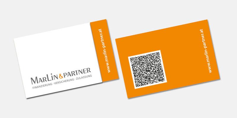 Visitenkarte mit QR-Code Marlin & Partner