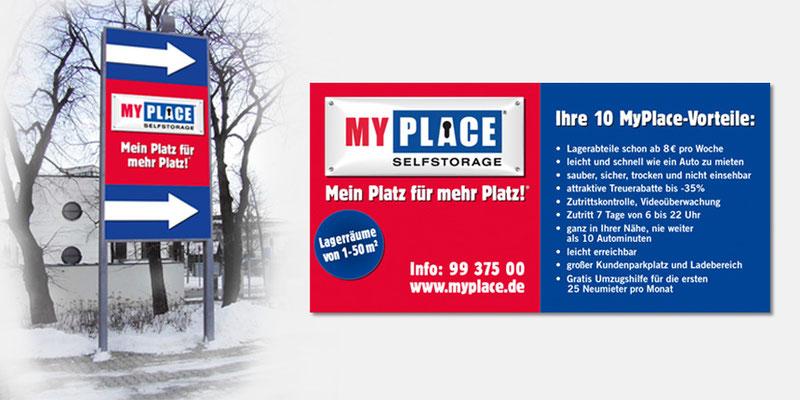 Wegweiser und Vorteilstafel MyPlace - SelfStorage