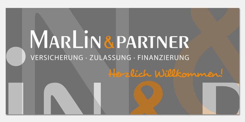 Wandbild - Empfangsbereich - Innengestaltung Büro Marlin & Partner
