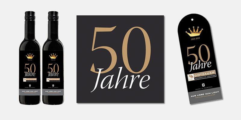 Jubiläum 50 Jahre Dotzauer - Logo, Give Away, Preishänger