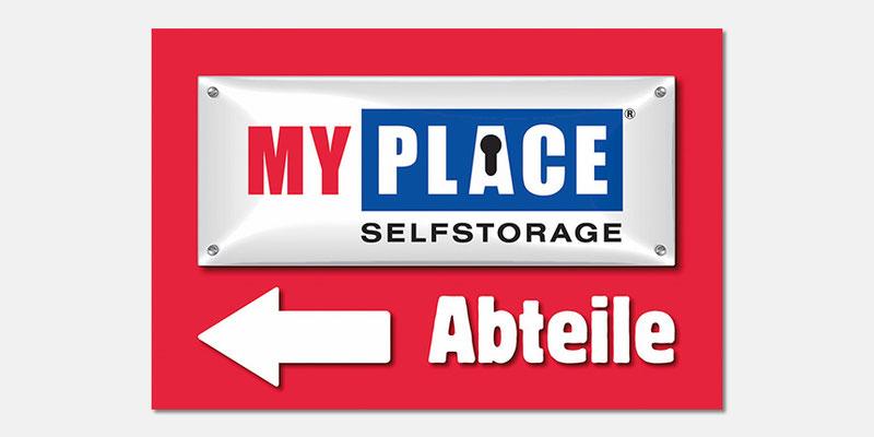 """Schild """"Abteile"""" MyPlace - SelfStorage"""