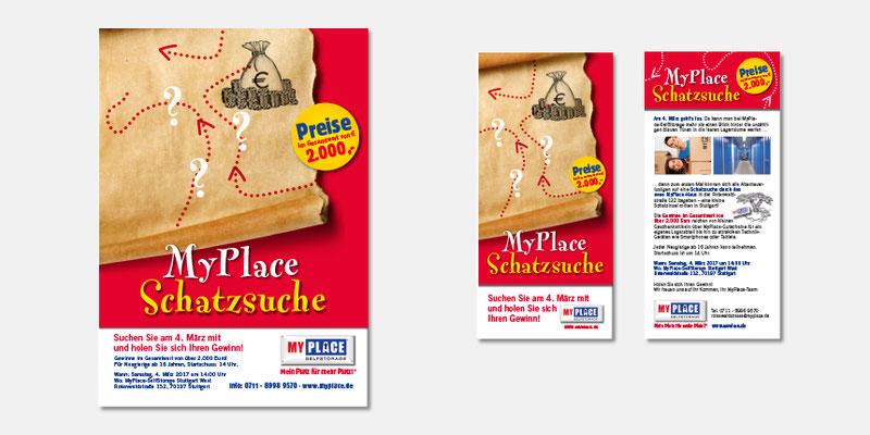 """Poster und Flyer Aktion """"Schatzsuche"""" zur Standorteröffnung"""