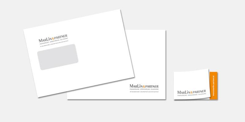 Kuverts und aufklappbare Visitenkarte Marlin & Partner