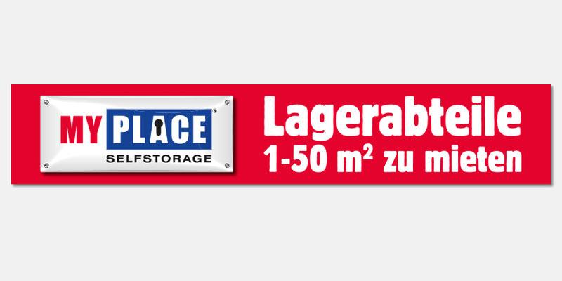 """Banner """"Lagerabteile 1 - 50 m2 zu mieten"""""""