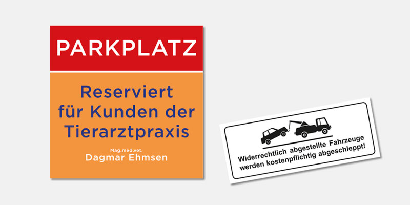 Ehmsen-Vet Parkplatzschilder