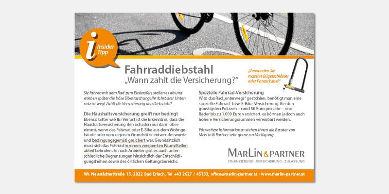 Regionale Anzeige Fahrraddiebstahl/Versicherung