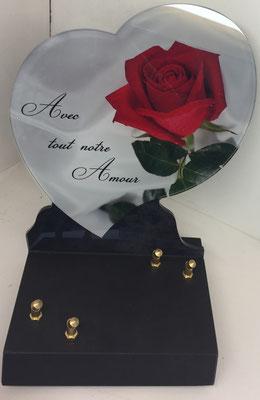 plaque rose coeur