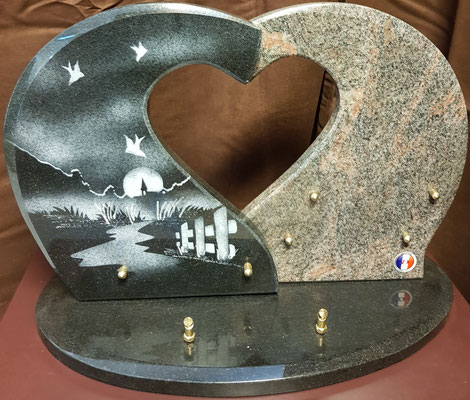 plaque granit coeur