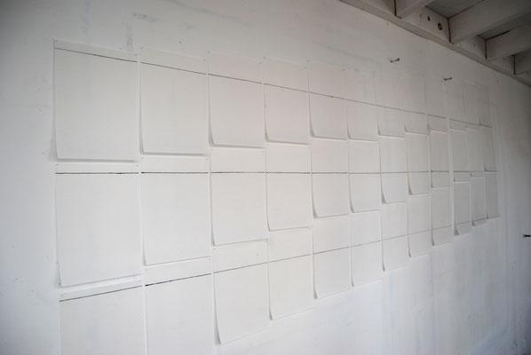 Installationsansicht, Drei Linien, 2017, Tusche auf japanisches Papier,  36 Blätter à 20x30cm
