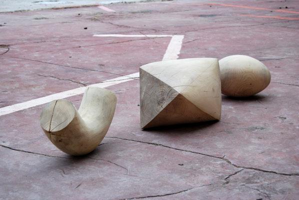 Drei Formen, 2017, Robineinholz, variable Größen