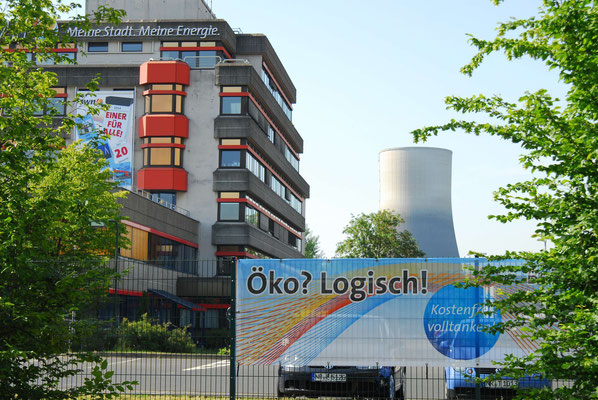 3-AKW Mülheim Kärlich, Atomkraftwerk, Schild Öko? Logisch!