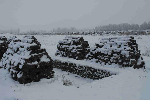 94- Torfabbau, Torf, gestochen Stapel, Trocknen, Winter