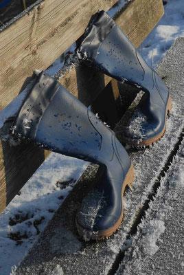 51- Winter Stilleben, Gummistiefel auf der Bank, Frost