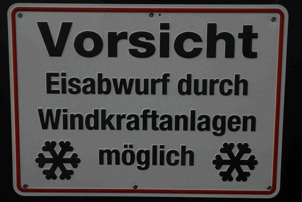 110- Vorsicht, Eisabwurf duch Windkraftanlagen, Windräder, Warnschild