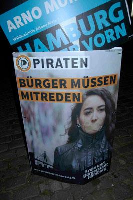 26- Parteiwerbung, Schild, Piraten, Piratenpartei, Bürger müssen mitreden