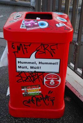 18- Hamburg, Müleier, Papierkorb, Sprüche, Stadtreinigung, rot, hummel hummel! Müll Müll!