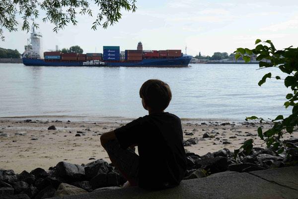 35 Junge schaut auf die Elbe vom Elbestrand aus
