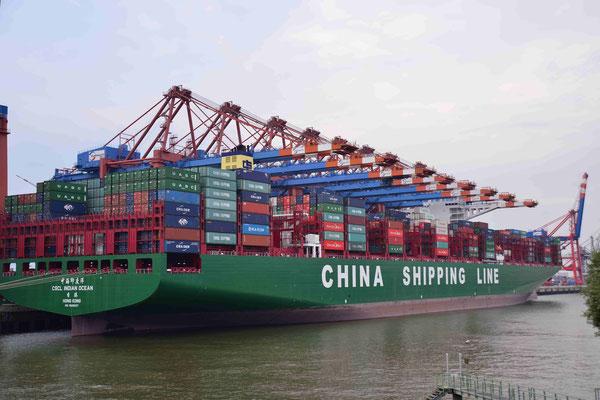 3 - China Shipping Line im Hamburger Hafen beim Löschen der Ladung.