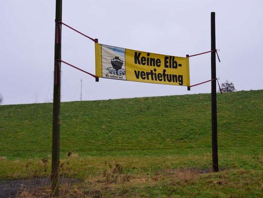 91- Gegner Elbvertiefung, Banner, Keine Elbvertiefung