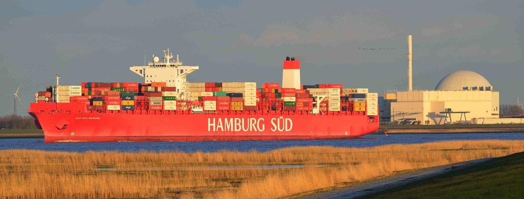 163 - Die Hamburg Süd auf der Elbe zwischen Cuxhaven und Hamburg.