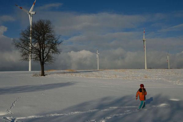 2- Winter, Schnee, Schneelandschaft, Baum, Kind, Windräder
