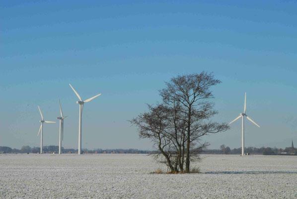59 - Windpark Oederquart, Windrad, Windräder, Windkraftanlagen, Niedersachsen, Germany, Deutschland, Winter, Schnee, verschneit