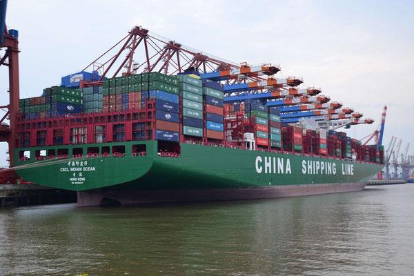 4 -China Shipping Line beim Löschen, Entladen, Beladen, CSL Hafen Hamburg, Eurokai
