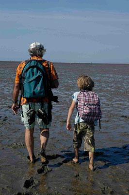 32- Vater und sohn beim Wattwandern an der Nordsee