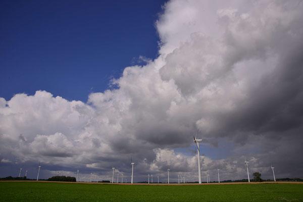 14- Windrad, Windkraftanlage, Windpark, Windkraft, Windgenerator, Windpark Oederquart, Niedersachsen, Ökostrom, Wolke, blauer Himmel
