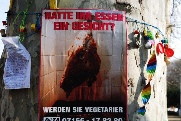 11- Stuttgart 21, Belagerung Bäume, Vegetarier Schild, gegen Fleischkonsum