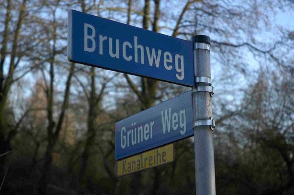 100- Strassenschild, Kehdinger Land, Bruchweg, Grüner Weg, symbolisch