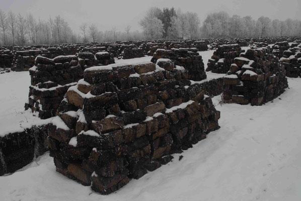 96- Torfabbau, Torf, gestochen Stapel, Trocknen, Winter