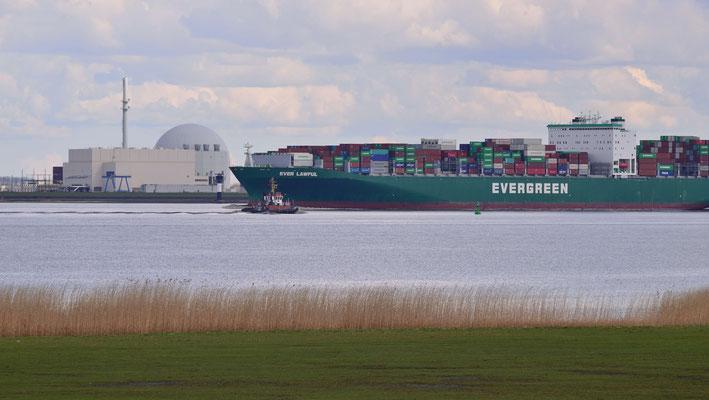 4- Brokdorf, Elbe, Schiff, Containerschiff