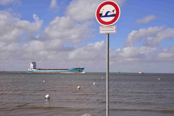 69- Schild an der Nordsee, Watt, Warnung