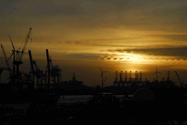 16- Hafen, Hamburg, Raffinerie, Abend