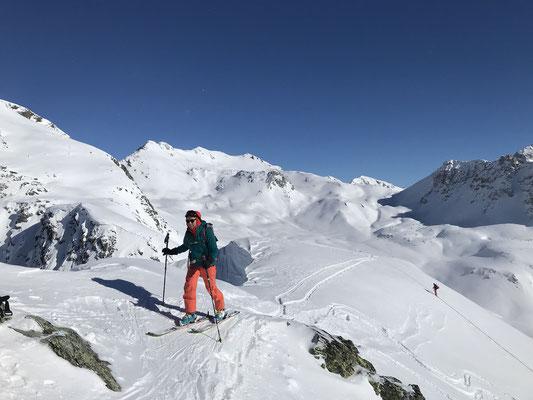 Danielle kurz vor dem windstillen Gipfel