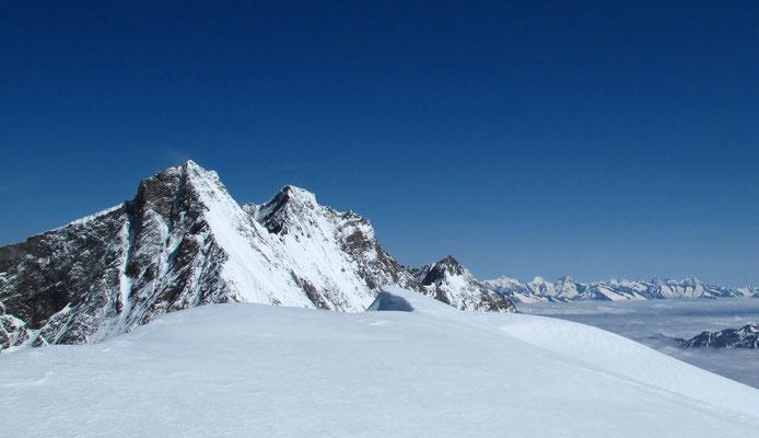 Der Südgrat steht frontal gegenüber vom Gipfel des Alphubel