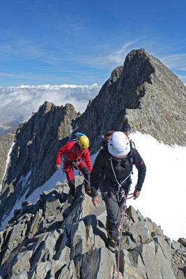 Gleiche Stelle im Abstieg, dahinter der Piz Bernina