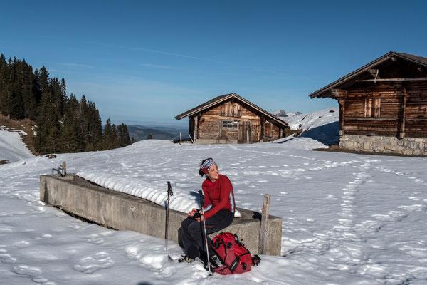 Alphütten beim Engel, die Bilder entstanden im schneearmen Dezember, 20.12.2015